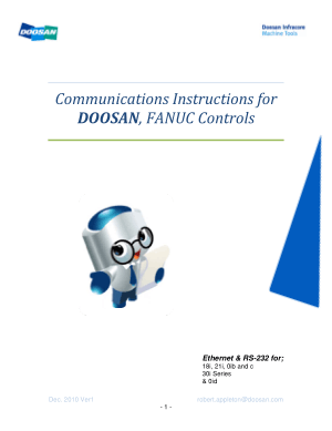 Doosan Fanuc Controls Communications Instructions