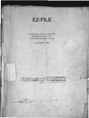 Bridgeport EZ-FILE Operation Manual