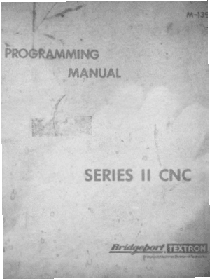Bridgeport BOSS M-139A Series II Programming Manual