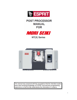 ESPRIT CAM Post Processor Manual for MORI SEIKI NTX
