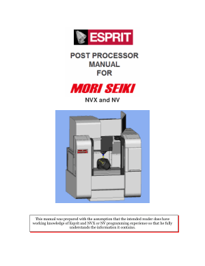 ESPRIT CAM Post Processor Manual MORI SEIKI NVX NV