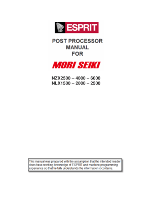 ESPRIT CAM Post Processor Manual MORI SEIKI NZX2500