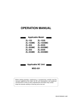 Mori Seiki Operating Manual ZL-153 ZL-253SMC