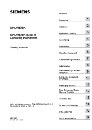 SINUMERIK 802D sl Operating Instructions