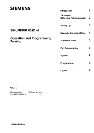 SINUMERIK 802D sl Turning Operation Programming