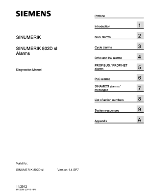 SINUMERIK 802D sl Alarms Diagnostics Manual