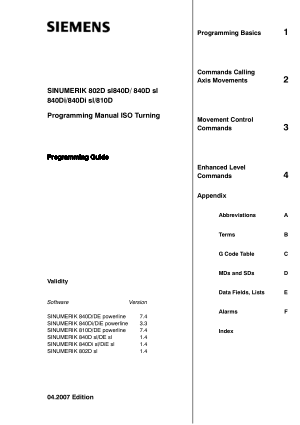 SINUMERIK 802D Turning Programming Manual