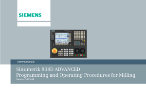 Sinumerik 808D Advanced Procedures for Milling