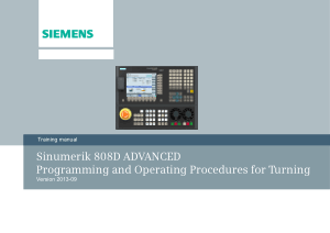 Sinumerik 808D Advanced Procedures for Turning