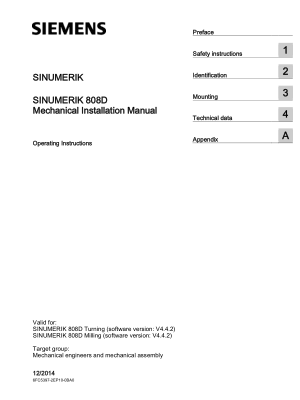Sinumerik 808D Mechanical Installation Manual