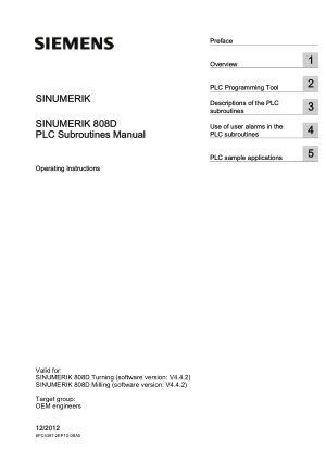 Sinumerik 808D PLC Subroutines Manual