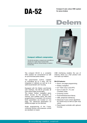 Delem DA-52 Compact 4-axis colour CNC for Press brakes
