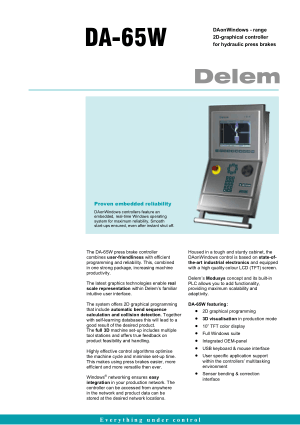 Delem DA-65W for Hydraulic Press brakes