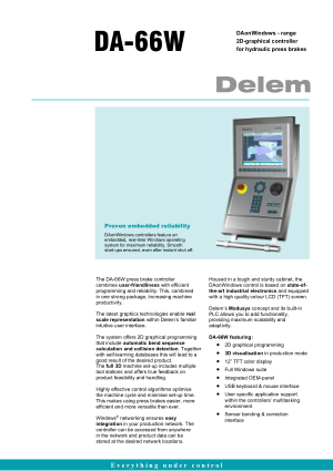 Delem DA-66W for Hydraulic Press brakes