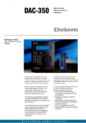 Delem DAC-350 Multi function CNC for Shearing Machines