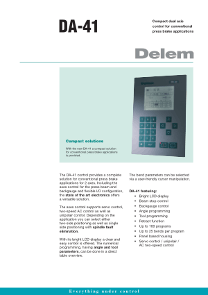 Delem DA-41 Technical Specifications