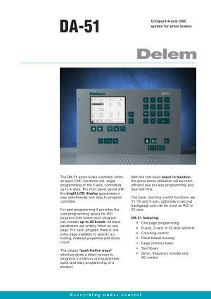 Delem DA-51 Technical Specifications