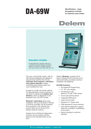 Delem DA-69W Technical Specifications
