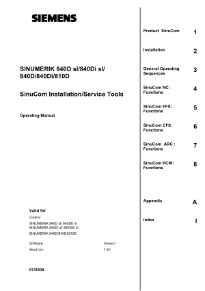 Sinumerik 840D SinuCom Installation Service Tools Manual