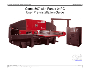 Amada Coma 567 with Fanuc 04PC Pre-installation Guide