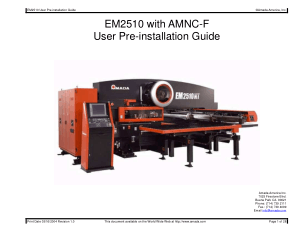 Amada EM2510 with AMNC-F User Pre-installation Guide