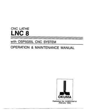 Okuma OSP 5020L Operation & Maintenance Manual