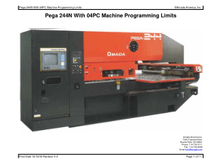 Amada Pega 244N With 04PC Machine Programming Limits
