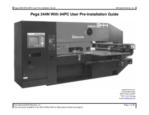 Amada Pega 244N With 04PC User Pre-Installation Guide