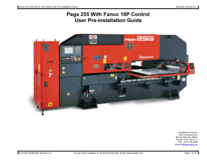 Amada Pega 255 with Fanuc 18P User Pre-installation Guide