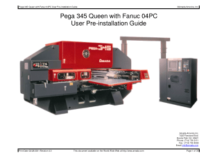 Amada Pega 345 Queen Fanuc 04PC Pre-installation Guide