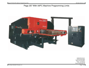 Amada Pega 357 with 04PC Machine Programming Limits