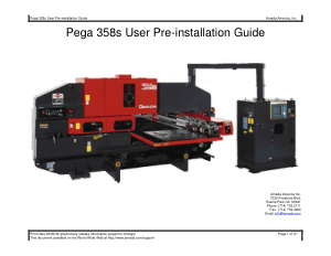Amada Pega 358s User Pre-installation Guide
