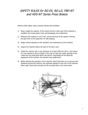 Amada Safety Rules for RG-EX RG-LD FBD-NT HDS-NT