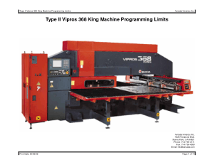 Amada Type II Vipros 368 King Machine Programming Limits