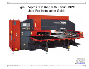 Amada Type II Vipros 358 King Fanuc 18PC Pre-installation Guide