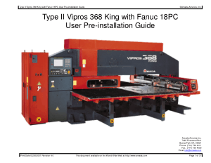 Amada Type II Vipros 368 King Fanuc 18PC Pre-installation Guide