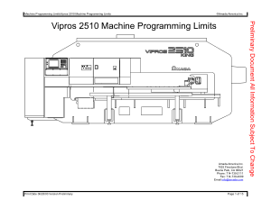 Amada Vipros 2510 Machine Programming Limits