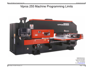 Amada Vipros 255 Machine Programming Limits