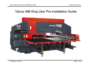Amada Vipros 368 King User Pre-installation Guide