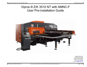 Amada Vipros lll Z K3510NT with AMNC-F Pre-installation Guide