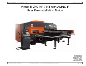Amada Vipros lll Z K 3610 NT with AMNC-F Pre-installation Guide