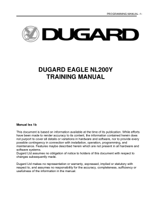 Dugard Eagle NL200Y Programming Manual