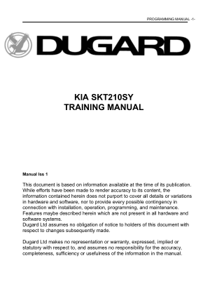 Dugard KIA SKT210SY Programming Manual