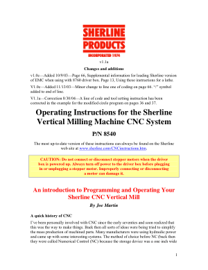 Sherline Milling Machine Programming Instructions v1.1a
