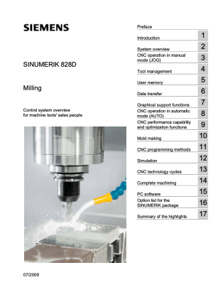 Sinumerik 828D Milling Overview Manual