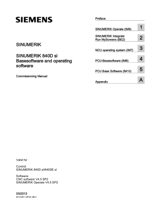 Sinumerik 840D sl Operate IM9 Commissioning Manual