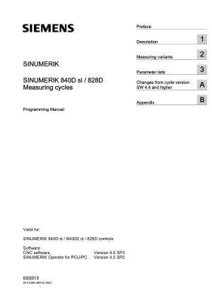 Sinumerik 840D Measuring Cycles Programming Manual