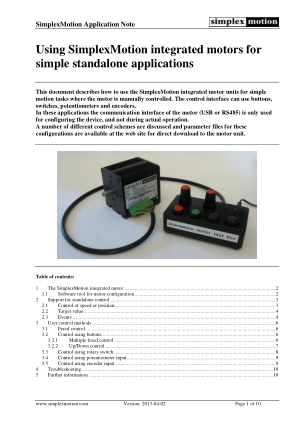 Using SimplexMotion Integrated Motors for Standalone Applications