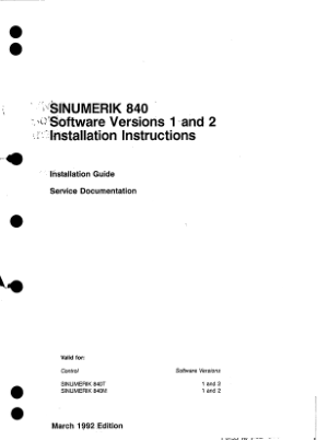SINUMERIK 840 Service Documentation