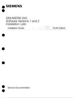 SINUMERIK 840 Installation Guide